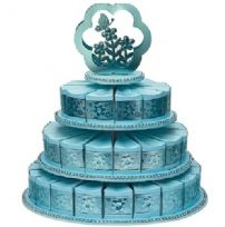 Blue 3 Tier Cake Stand With 48 Cake Slice Boxes